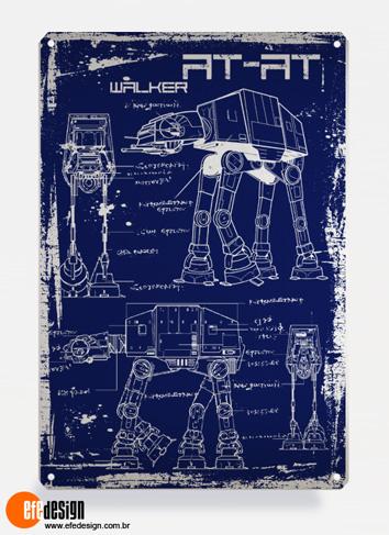 Placa decorativa AT-AT - Azul Material: Metal Tamanho: 20 cm X 29 cm Preço: 36,90