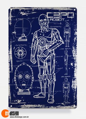 Placa decorativa C3PO - Azul Material: Metal Tamanho: 20 cm X 29 cm Preço: 36,90