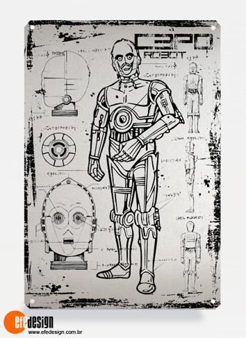 Placa decorativa C3PO - Prata Material: Metal Tamanho: 20 cm X 29 cm Preço: 29,90