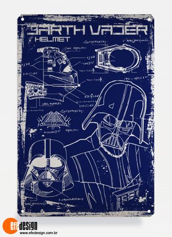 Placa decorativa Darth Vader - Azul Material: Metal Tamanho: 20 cm X 29 cm Preço: 36,90