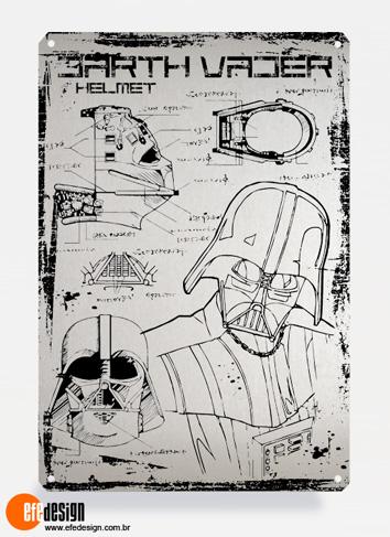 Placa decorativa Darth Vader - Prata Material: Metal Tamanho: 20 cm X 29 cm Preço: 29,90