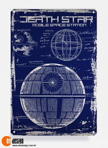 Placa decorativa Death Star - Azul Material: Metal Tamanho: 20 cm X 29 cm Preço: 36,90