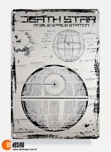 Placa decorativa Death Star - Prata Material: Metal Tamanho: 20 cm X 29 cm Preço: 29,90
