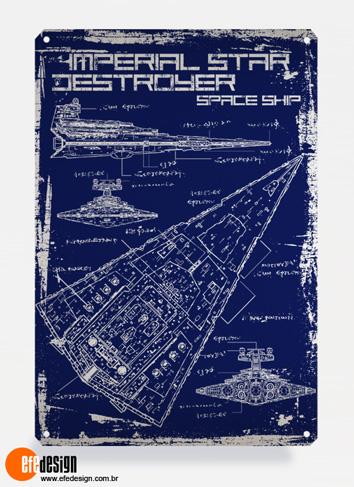 Placa decorativa Imperial Destroyer - Azul Material: Metal Tamanho: 20 cm X 29 cm Preço: 36,90