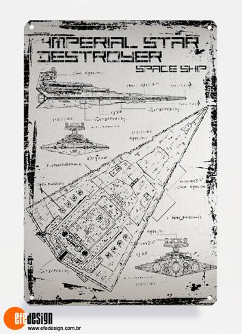 Placa decorativa Imperial Destroyer - Prata Material: Metal Tamanho: 20 cm X 29 cm Preço: 29,90