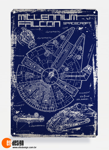 Placa decorativa Millenium Falcon - Azul Material: Metal Tamanho: 20 cm X 29 cm Preço: 36,90