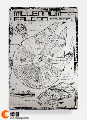 Placa decorativa Millenium Falcon - Prata Material: Metal Tamanho: 20 cm X 29 cm Preço: 29,90