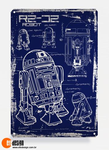 Placa decorativa R2-D2 - Azul Material: Metal Tamanho: 20 cm X 29 cm Preço: 36,90