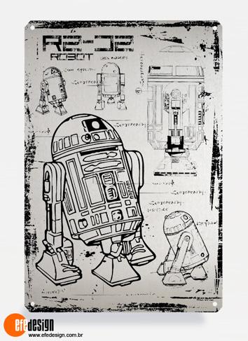 Placa decorativa R2-D2 - Prata Material: Metal Tamanho: 20 cm X 29 cm Preço: 29,90