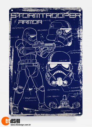 Placa decorativa Stormtrooper - Azul Material: Metal Tamanho: 20 cm X 29 cm Preço: 36,90