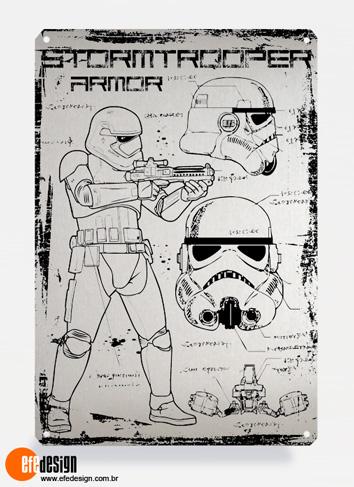 Placa decorativa Stormtrooper - Prata Material: Metal Tamanho: 20 cm X 29 cm Preço: 29,90