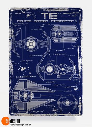 Placa decorativa Tie Fighter - Azul Material: Metal Tamanho: 20 cm X 29 cm Preço: 36,90
