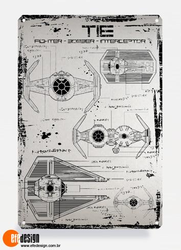 Placa decorativa Tie Fighter - Prata Material: Metal Tamanho: 20 cm X 29 cm Preço: 29,90