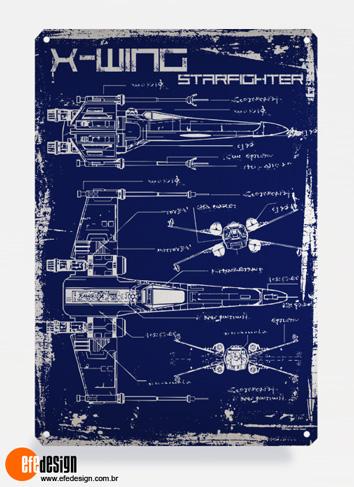 Placa decorativa X-Wing - Azul Material: Metal Tamanho: 20 cm X 29 cm Preço: 36,90