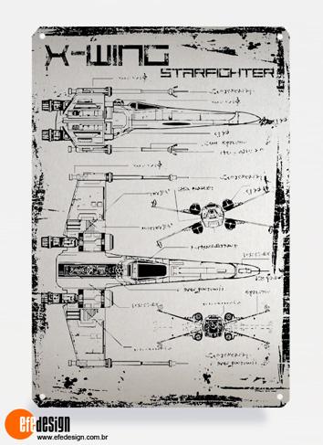 Placa decorativa X-Wing - Prata Material: Metal Tamanho: 20 cm X 29 cm Preço: 29,90